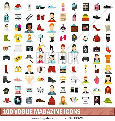 100 vogue magazine icons set in flat style for any design vector illustration