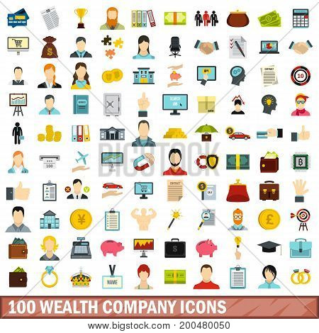 100 wealth company icons set in flat style for any design vector illustration