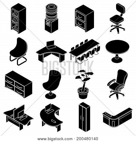 Office furniture icons set. Simple isometric illustration of 16 office furniture vector icons for web