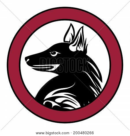 Dog  animal pet sign tattoo isolated vector.