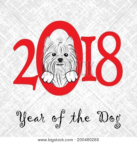 Puppy animal york dog of Chinese New Year of the Dog grunge vector file organized in layers for easy editing.