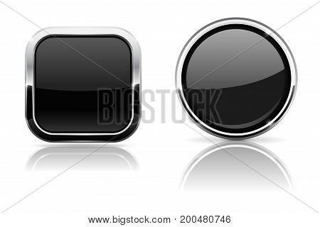 Black buttons. Square and round 3d icons with chrome frame. Vector 3d illustration isolated on white background
