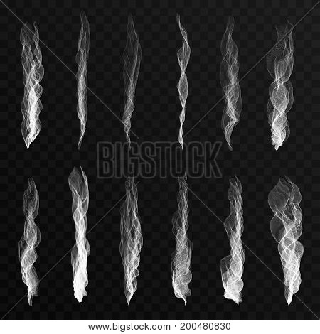 Smoke Waves Set On Transparent Background. Cigarette Smoke Waves, Hot Steam, Mist