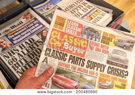 LONDON ENGLAND - MAY 14 2017 : Classic Car Buyer newspaper. Classic Car Buyer is Britain's leading weekly newspaper for classic car enthusiasts.
