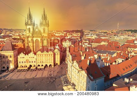 Buildings on the Old Town square Staromestska Namesti during sunset in Prague Czech Republic
