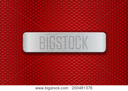 Metal brushed plate on red perforated background. Vector 3d illustration