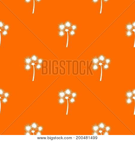 Spiny tropical palm tree pattern repeat seamless in orange color for any design. Vector geometric illustration