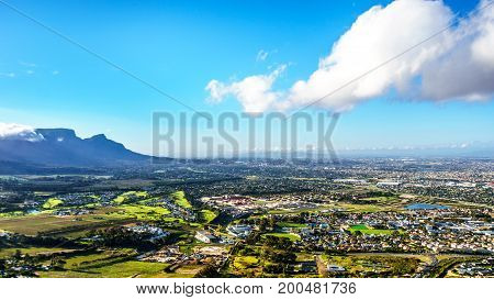Late afternoon view over the Western Cape with Cape Town and Table Mountain viewed from the Ou Kaapse Weg, Old Cape Road on a nice winter day