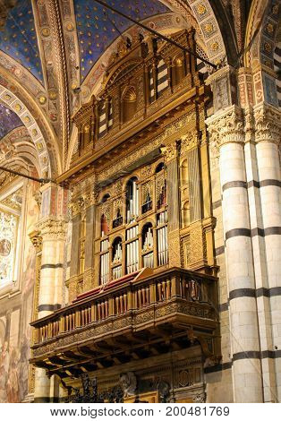 Pipe Organ In Siena Cathedral, Italy