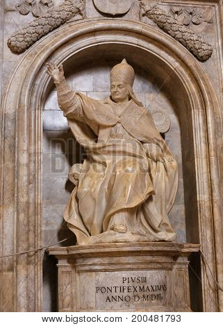 Statue Of Pope Pius Iii In Siena Cathedral