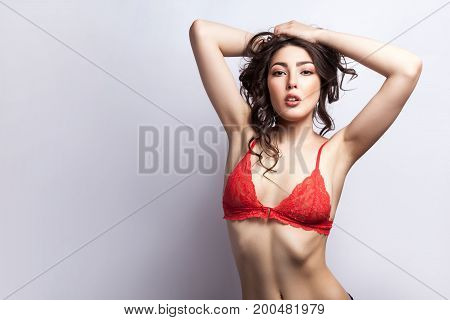 Sensuality model holding hair under head and looking at camera. Isolated on gray background studio shot
