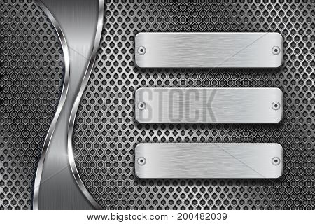 Metal perforated background with blank steel plates and chrome wave. Vector 3d illustration