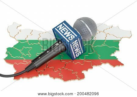 Bulgarian News concept microphone news on the map of Bulgaria. 3D rendering