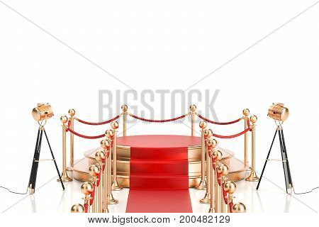 Empty golden podium with red carpet and barrier rope 3D rendering isolated on white background