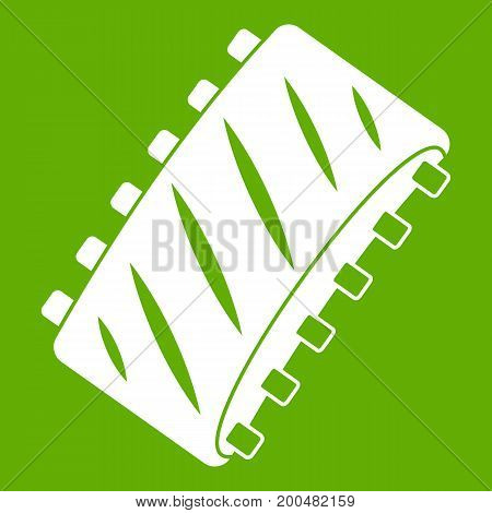 Pork rib meat icon white isolated on green background. Vector illustration