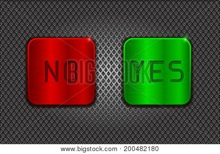 YES and NO buttons on metal perforated background. Vector 3d illustration
