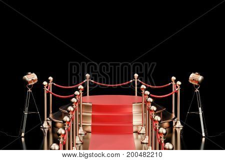 Empty podium with red carpet and barrier rope 3D rendering isolated on black background