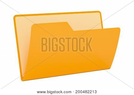 Empty yellow computer folder icon 3D rendering isolated on black background