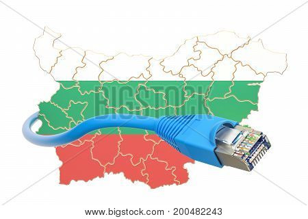 Internet connection in Bulgaria concept. 3D rendering isolated on white background