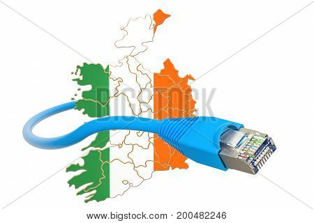 Internet connection in Ireland concept. 3D rendering isolated on white background