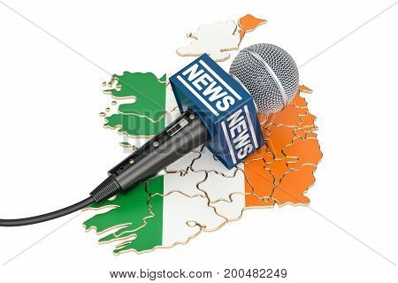 Irish News concept microphone news on the map of Ireland. 3D rendering