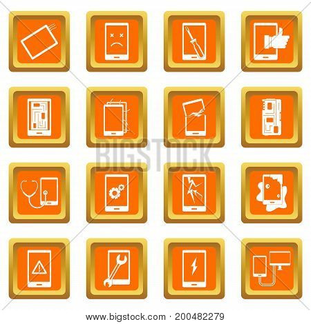 Device repair symbols icons set in orange color isolated vector illustration for web and any design