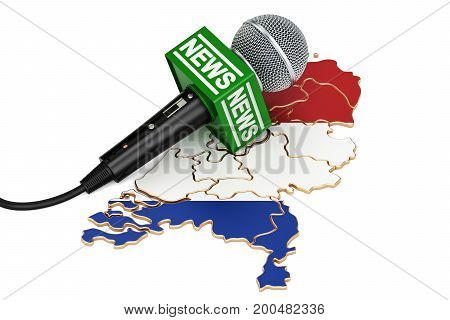 Netherlands News concept microphone news on the map. 3D rendering