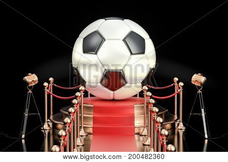 Podium with soccer ball 3D rendering isolated on black background