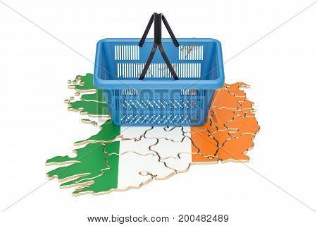Shopping basket on Irish map market basket or purchasing power in Ireland concept. 3D rendering