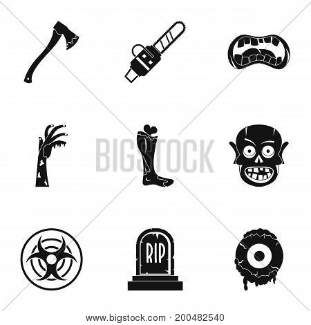 Zombie icon set. Simple set of 9 zombie vector icons for web isolated on white background