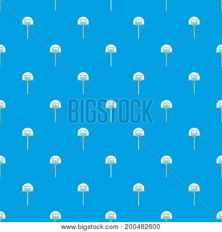 Street basketball hoop pattern repeat seamless in blue color for any design. Vector geometric illustration