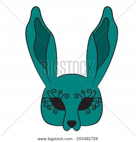 Mask hare. vector illustration. Drawing by hand