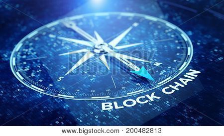 Block chain network concept - Compass needle pointing Blockchain word. 3d rendering