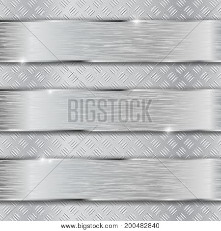 Non slip metallic surface with brushed plates. Vector 3d illustration