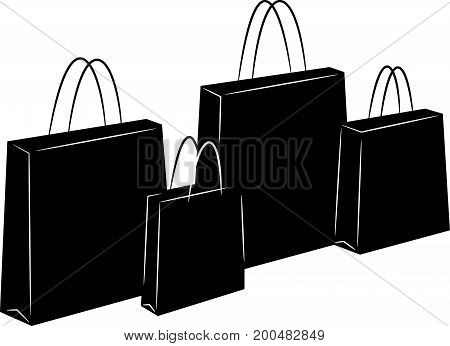 Four Shopping Bags black silhouettes standing vector