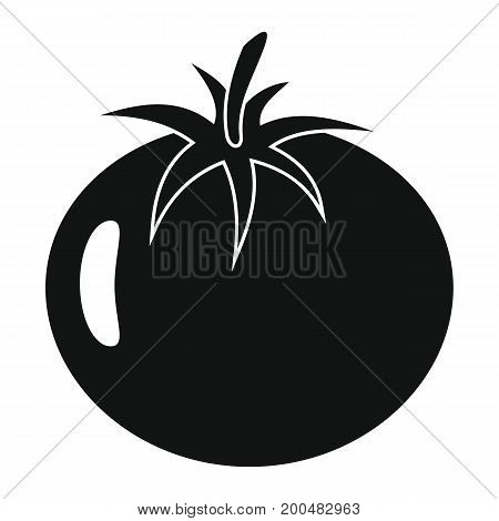 Tomato black simple silhouette icon vector illustration for design and web isolated on white background. Tomato vector object for labels  and advertising