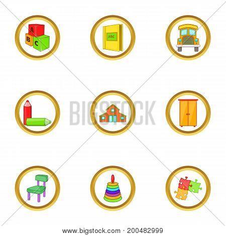 Kindergarten icons set. Cartoon illustration of 9 kindergarten vector icons for web design