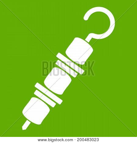 Kebab on skewer icon white isolated on green background. Vector illustration