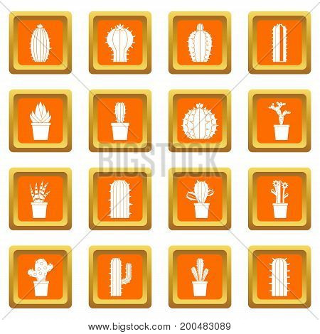 Different cactuses icons set in orange color isolated vector illustration for web and any design