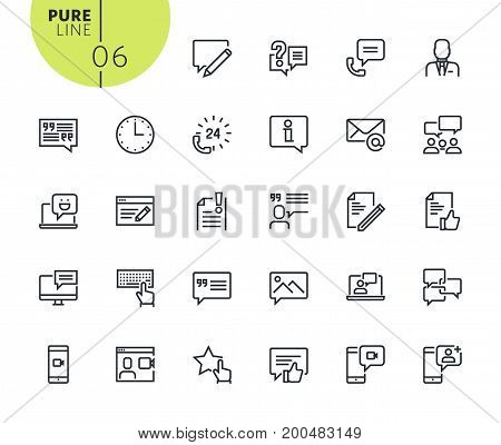 Set of social network icons. Modern outline web icons collection for web and app design and development. Premium quality vector illustration of thin line web symbols.