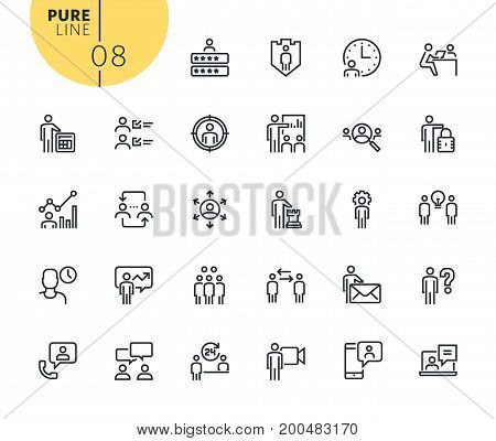 Set of business management icons. Modern outline web icons collection for web and app design and development. Premium quality vector illustration of thin line web symbols.