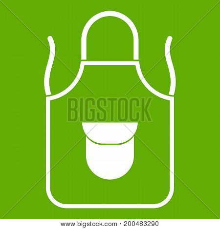 Apron with pocket icon white isolated on green background. Vector illustration