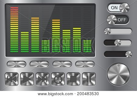Equalizer with media player buttons. On metal background. Vector illustration