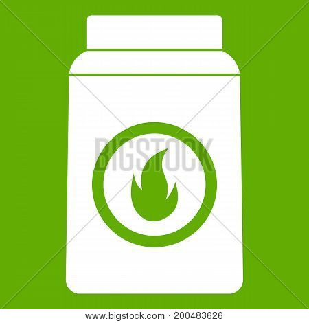 Matchbox icon white isolated on green background. Vector illustration
