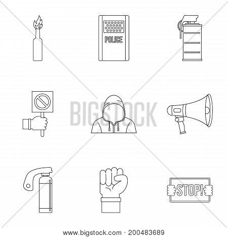Revolution icon set. Outline set of 9 revolution vector icons for web isolated on white background