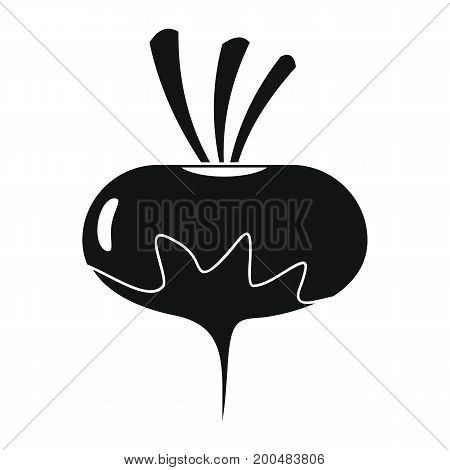 Radish black simple silhouette icon vector illustration for design and web isolated on white background. Radish vector object for labels  and advertising