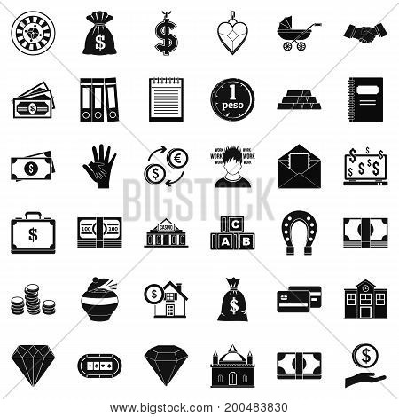 Bank deposit icons set. Simple style of 36 bank deposit vector icons for web isolated on white background