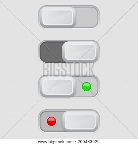 Toggle switch set. On and Off buttons. Vector 3d illustration