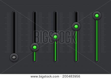 Black equalizer with green slider buttons. Vector illustration
