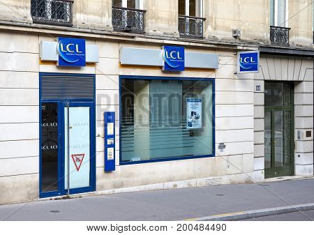 PARIS FRANCE - MAY 10 2017 : LCL office in Paris. LCL S.A. is a major French financial services company with its registered office in Lyon France.